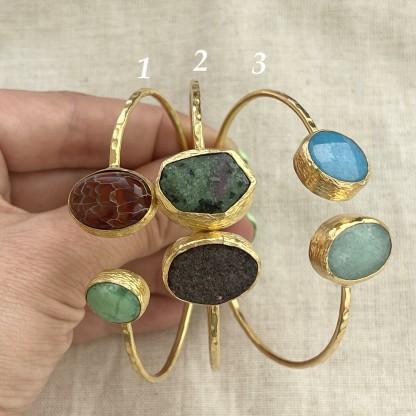 Браслет с натуральными камнями и жемчугом, позолота 24К