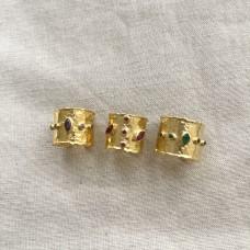 Кольцо с цветными циркониями, позолота 24К