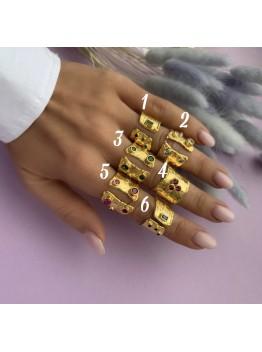 Кольцо позолоченное 24К, инкрустированное циркониями