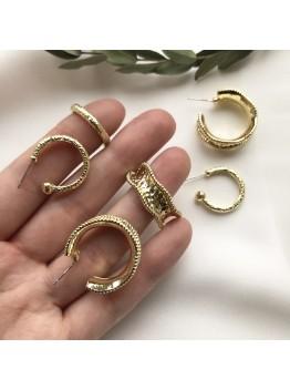 Серьги-кольца фактурные, позолота