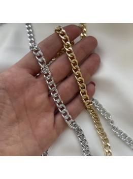 Цепь панцирного плетения плетения 6 мм, родирование/позолота