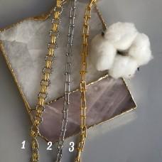 Цепь комбинированная с круглыми звеньями/цепь Тиффани в родии и позолоте