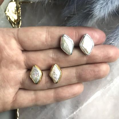 Серьги-ромбы с барочным жемчугом позолота 24К/посеребрение