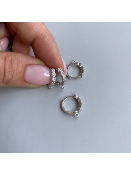 Швензы с цирконами из серебра 925 пробы
