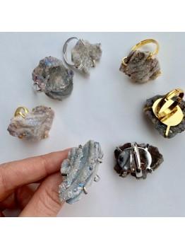 """Кольцо """"Срез друзы кварца с титановым напылением"""" в серебре/позолоте 24К"""