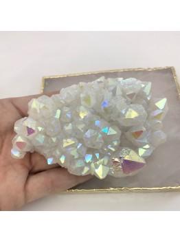 Интерьерный камень, друза кварца с титановым напылением
