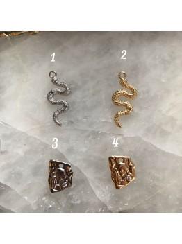 "Подвески ""Змея"" и ""Лицо"" позолота/родирование"