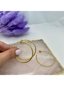 Серьги-кольца Итальянская фурнитура Матовая позолота 18К