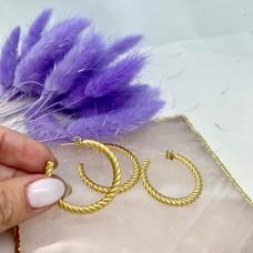 Серьги-кольца витые Итальянская фурнитура Матовая позолота 18К