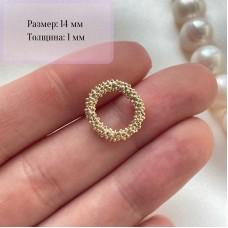 """Ювелирный элемент """"Рельефный круг"""", 14 мм, позолота"""
