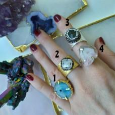 Кольца с натуральными камнями в серебре и позолоте