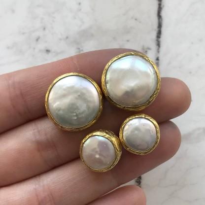 Серьги круглые с барочным жемчугом, позолота 24К
