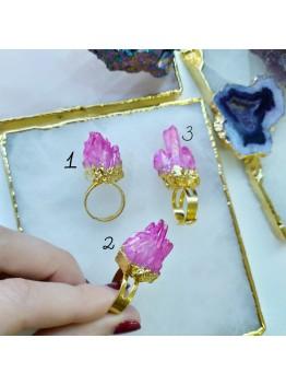 Кольцо розовое, друза кварца позолота 24К