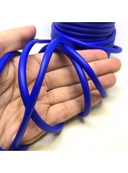 Силиконовый полый шнур 5мм, синий.