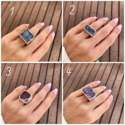 Кольцо литое из кварца с друзой в серебре