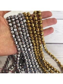 Гематит граненый , золото/серебро 8мм