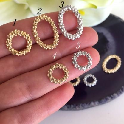 Ювелирный элемент кольцо/овал 12-21мм , родирование/позолота