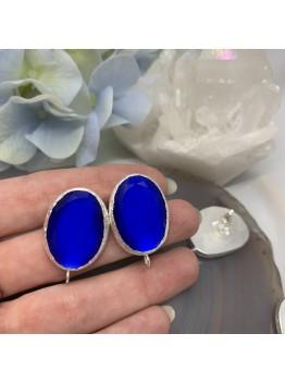 Швензы «Кошачий глаз» Синие в серебре