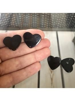 Швензы «Чёрное сердце», Акрил. 20*25мм