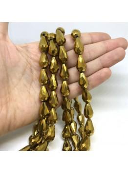 Хрустальная бусина, капля золотая 10*15мм (уп. 10шт)