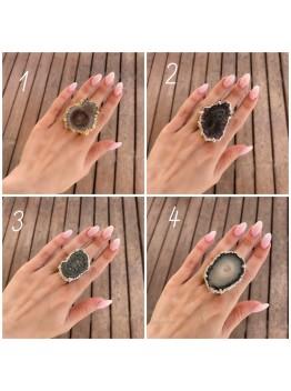 Кольцо со сталактитом аметиста, позолота 24К/Родирование