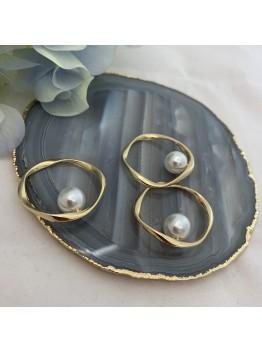 Ювелирный элемент «Витой круг с жемчугом майорка» 30мм