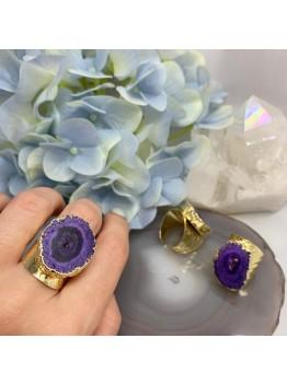Кольцо со срезом кварца, цвет-фиолетовый. позолота 24К