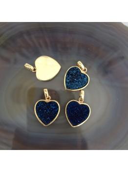 Подвески-сердце 16*16мм. Друза кварца, позолота 24К. Цвет Синий.