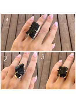 Кольцо с турмалином, позолота/родирование