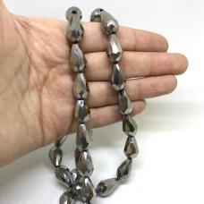 Хрустальная бусина, капля серебряная 10*15мм (уп. 10шт)