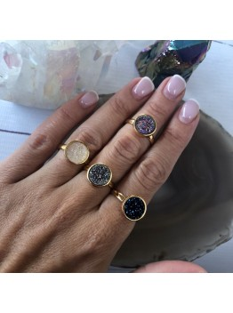 Кольцо, друза кварца, позолота 24К